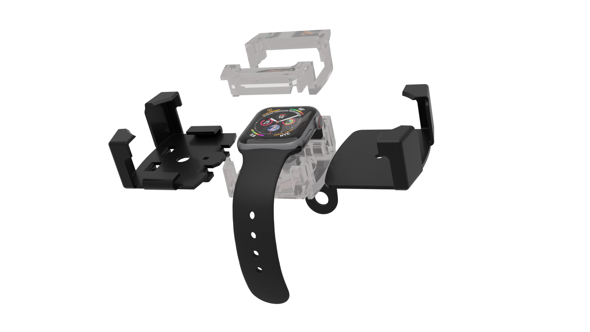 Titan Wearable Bracket in black with acrylic inserts