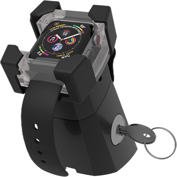 The Titan Keylock shown with a Titan Wearable Bracket securing an Apple Watch.